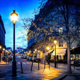 View of an ornate avenue in Paris at night lit up by beautifully decorated street lamps
